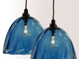 blown glass pendant lighting. hand blown blue beanie glass pendant lampshades lighting