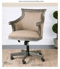 rustic perfection swivel office chair natural beige linen upholstery vintage grey antiqued wood work