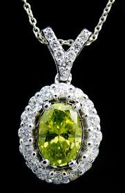 pendant intense fancy olive green diamond diamonds 1 00 ct in total