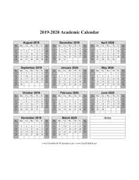 Printable School Year Calendars Printable 2019 2020 Academic Calendar