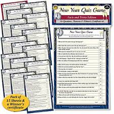 New Year Facts Trivia Quiz Game A Fun New Years Eve Themed Challenging Quiz Game A Great Party Accessory For Family Office Or Social Club