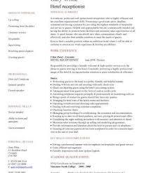 Hotel Reception Resume Sample Professional Resume Templates