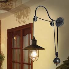 retro industrial retractable pulley wall fixture edison light sconce cage lamp