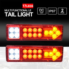 Truck Tailgate Lights Us 14 98 40 Off Sitaile 2 Piece 19 Led Caravan Turn Signal Truck Tail Light 12v 24v Car Led Taillight Left Right Trailer Truck Tail Light In Signal