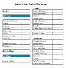 Residential Construction Budget Template Excel Lovely Total Cost