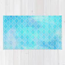 liquid blue moroccan print rug