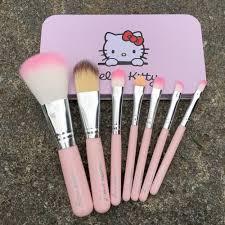 7pcs newest pink o kitty makeup brush set mini size professional cosmetics make up brushes set for mac with metal box vh012