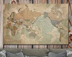 >world map canvas etsy map of the world canvas one panel non push pin vintage map art canvas world travel map world map canvas large wall art non traditional