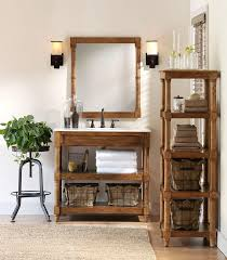 Rustic Bathroom Vanities And Sinks Pine Wood Vanity Sink And Storage Freestanding Shelf Open Shelves
