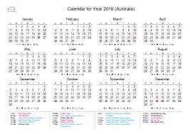 yearly printable calendar 2018 printable calendar 2018 for australia pdf