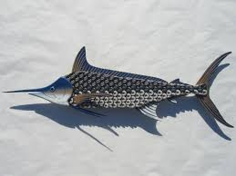 absolutely ideas fish wall art interior decor home metal blue marlin bottlecap for kids bathroom uk