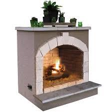 cal flame 55 000 btu beige composite outdoor liquid propane fireplace