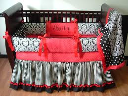 red black damask baby bedding