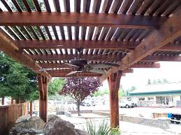 brilliant patio wood patio covers dark finish lattice cover with ceiling fan in black intended wooden patio roof