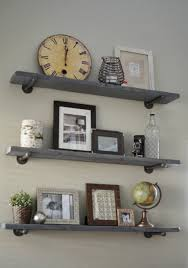 ... Floating Wall Shelves For Books Short Silver Iron Holder High Rise  Classic Design Long Square Grey ...