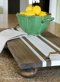 DIY Decorative Trays - diy ticking stripe wooden server tray from 'uncommon  designs'.