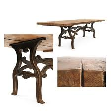 wooden table and cast iron legs 1920s