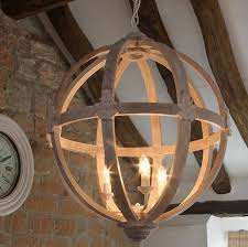 elegant large round wooden orb chandelier by cowshed interiors for white wood