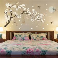 latest white peach erfly wall sticker for home decoration