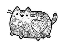 Pusheen Inspired Zentangle With Mandalas Great Coloring Page