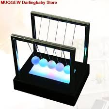 newtons cradle led light up kinetic energy home office science toys home decoration funny gadgets novelty