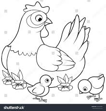 Small Picture Coloring Page Mother Hen Baby Chicks Stock Vector 425434252
