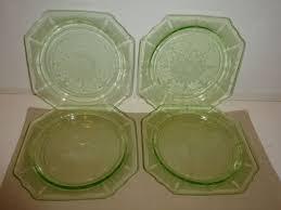 vintage hocking princess set 4 green depression glass salad plates 8 1 4