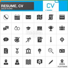Vector Icons Set For Resume Or CV Modern Solid Symbol Collection Gorgeous Resume Logo