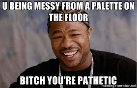 u being messy from a palette on the floor bitch you're pathetic ... via Relatably.com