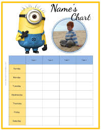 Free Behavior Charts With The Minions Add Your Own Photo