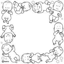 ちいさな赤ちゃんのイラストフレームモノクロ 子供と動物の