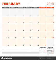 2020 monthly planner template calendar planner for february 2020 stationery design