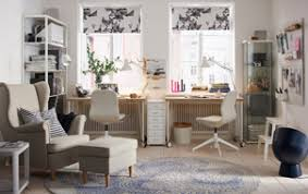 ikea office. a beige and white home office in neutral coloured sitting room environment ikea