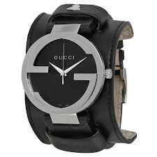 gucci interlocking grammy black dial black leather cuff men s watch ya133203