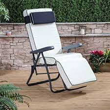 alfresia garden reclining relaxer chair charcoal adjule multi position foldable frame with luxury cushion choice