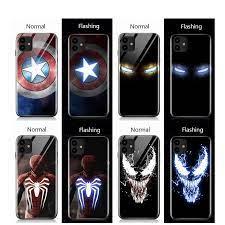 Cho iPhone 11 12 Pro Max XS XR Case Đèn LED Avengers Iron Man Miếng Dán  Kính Cường Lực Dành Cho iPhone 7 8 Plus SE 2020 Mới|Phone Case & Covers