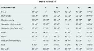 Regular Dress Size Chart Size Chart For Mens Dress Shirt Normal Fit Costume
