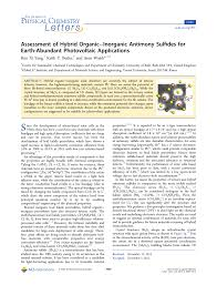 Assessment Of Hybrid Organicinorganic Antimony Sulfides For Earth