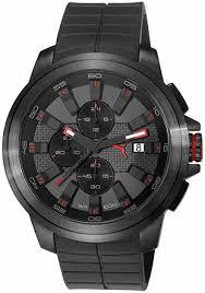 men s puma drill black silicone chronograph watch pu103891001