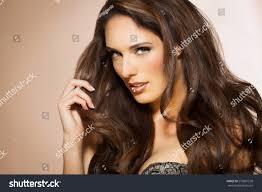 Dark Hair Style portrait beautiful woman long brunette fashion stock photo 3732 by wearticles.com