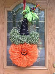 Lighted Halloween Pumpkin Witch Wreath With Hat Witch