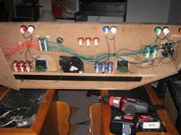 build a home arcade machine wiring the controls picture above is everything wired except the trackball and spinner player 1 and 2 blue and red buttons are wired to the interface on the ultrastik 360 s