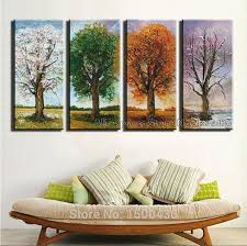 hand painted 4 season tree oil painting canvas set 4 piece modern abstract wall art home decoration picture on wall art 4 piece set with hand painted blue flower canvas painting 4 piece wall art modern