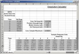 excel spread sheet analyzing dissolution test data with a sigmaplot excel spreadsheet