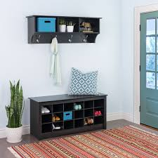 Entryway Shelf And Coat Rack Prepac Sonoma Black Entryway Cubbie Shelf and Coat Rack Hayneedle 74
