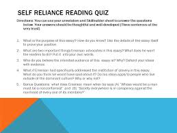 extended interpretations ppt 4 self reliance reading quiz