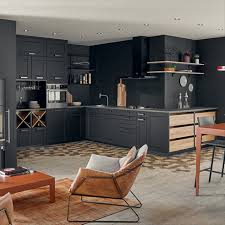 Cuisine Moderne Et Design Ouverte Noire Mat Ambiance Comptoir
