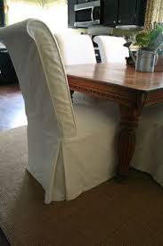 scrolled back parson chairs in white duck cloth find this pin and more on dining room by kimberly taylor parsons chair slipcovers