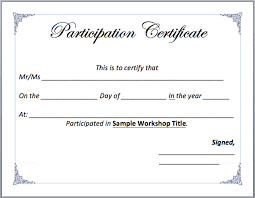 Samples Of Certificates Of Participation Workshop Participation Certificate Template Microsoft Word Templates