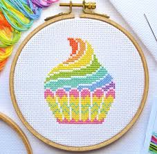 Pattern Quick Stitch Cupcake Cross Stitch Chart Easy Cute Simple Modern Design Happy Dmc Colours Fits 5 Inch Hoop